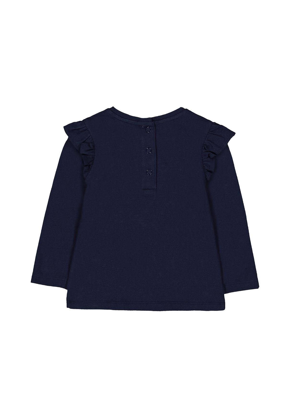 Mothercare Girls Navy Embroidered T-Shirt