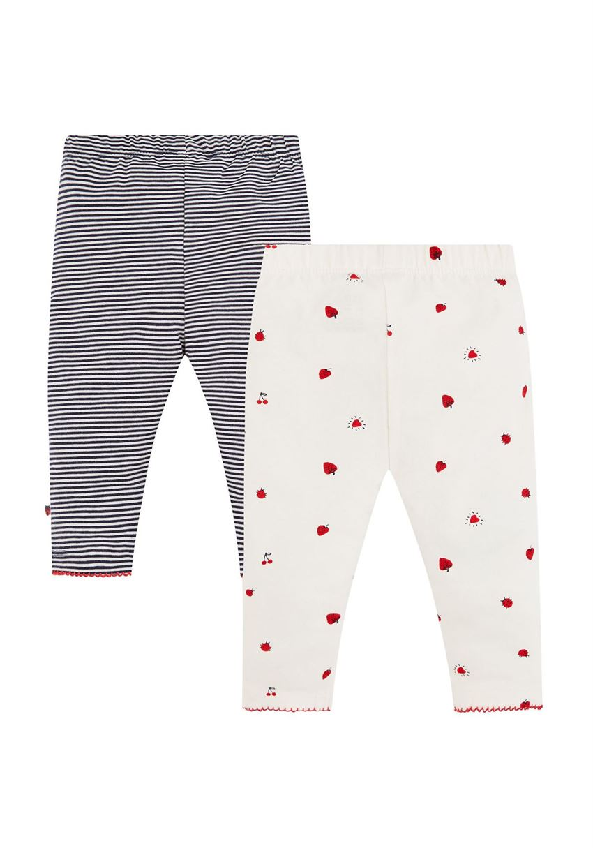 Mothercare Girls White Printed Pack of 2 Leggings
