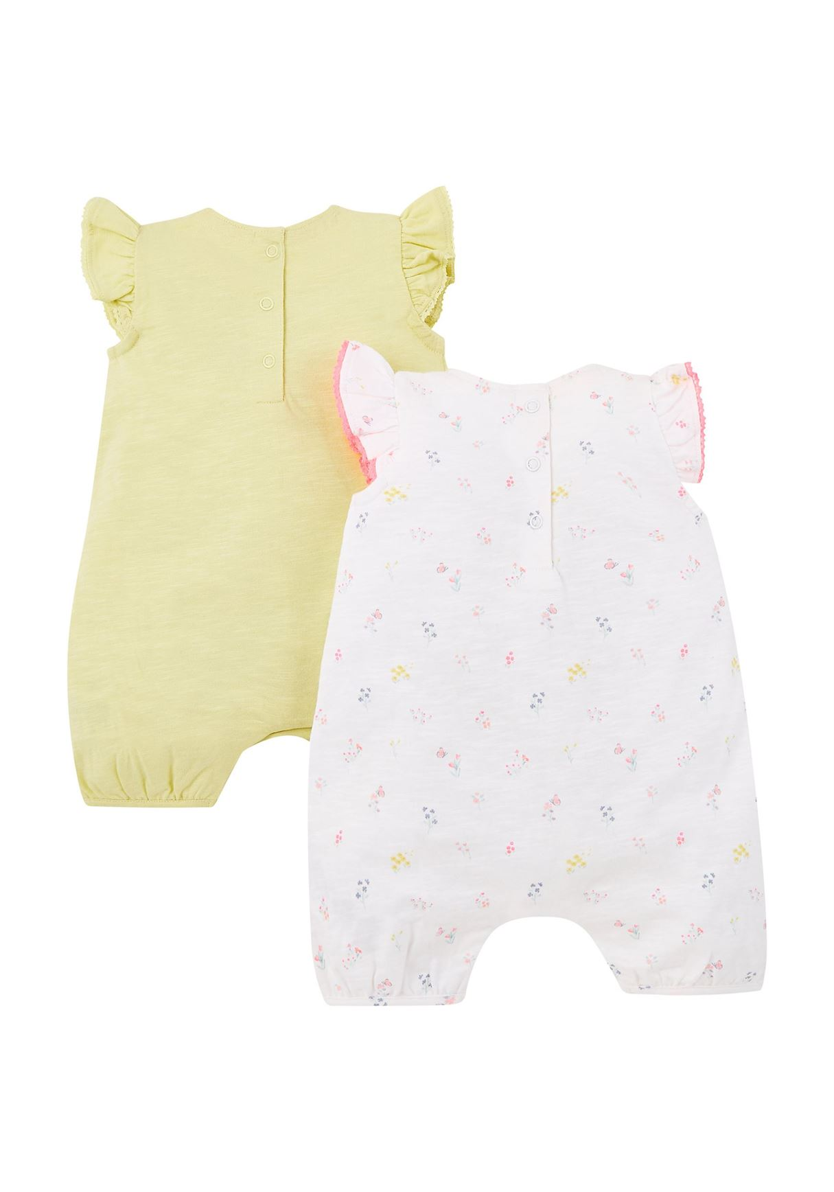 Mothercare Girls Assorted Printed Pack of 2 Rompers