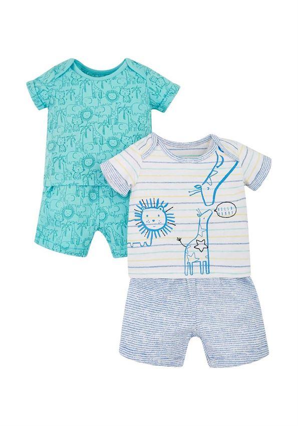 Mothercare Boys Blue Printed Top & Shorts Set