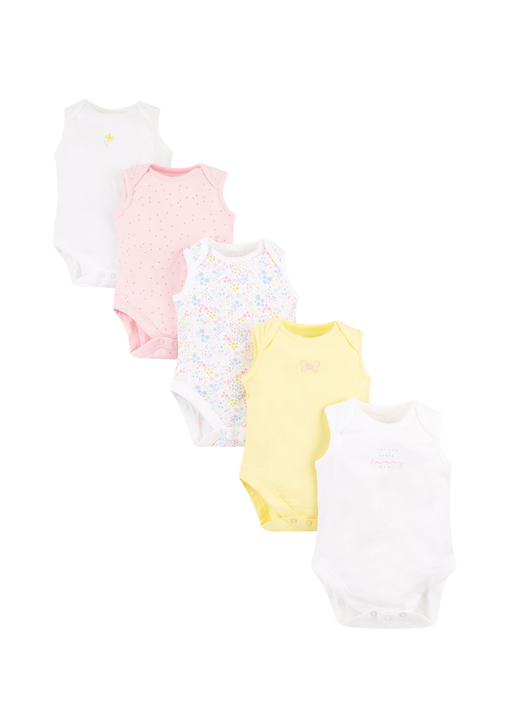 Mothercare Girls Assorted Printed Pack of 5 Bodysuit