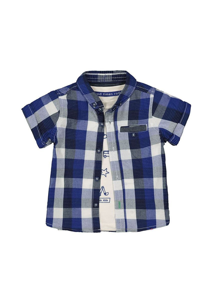 Mothercare Boys Blue Checkered Shirt & T-Shirt Set