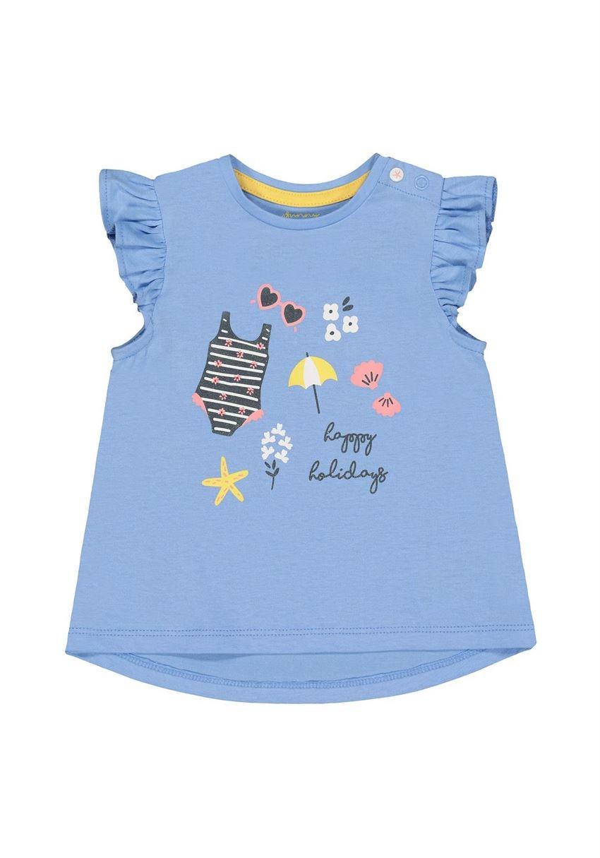 Mothercare Girls Blue Printed T-Shirt
