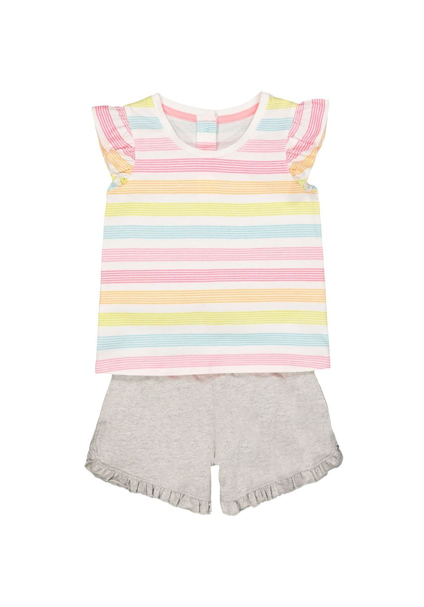 Mothercare Girls Multicolor Striped Top & Shorts Set