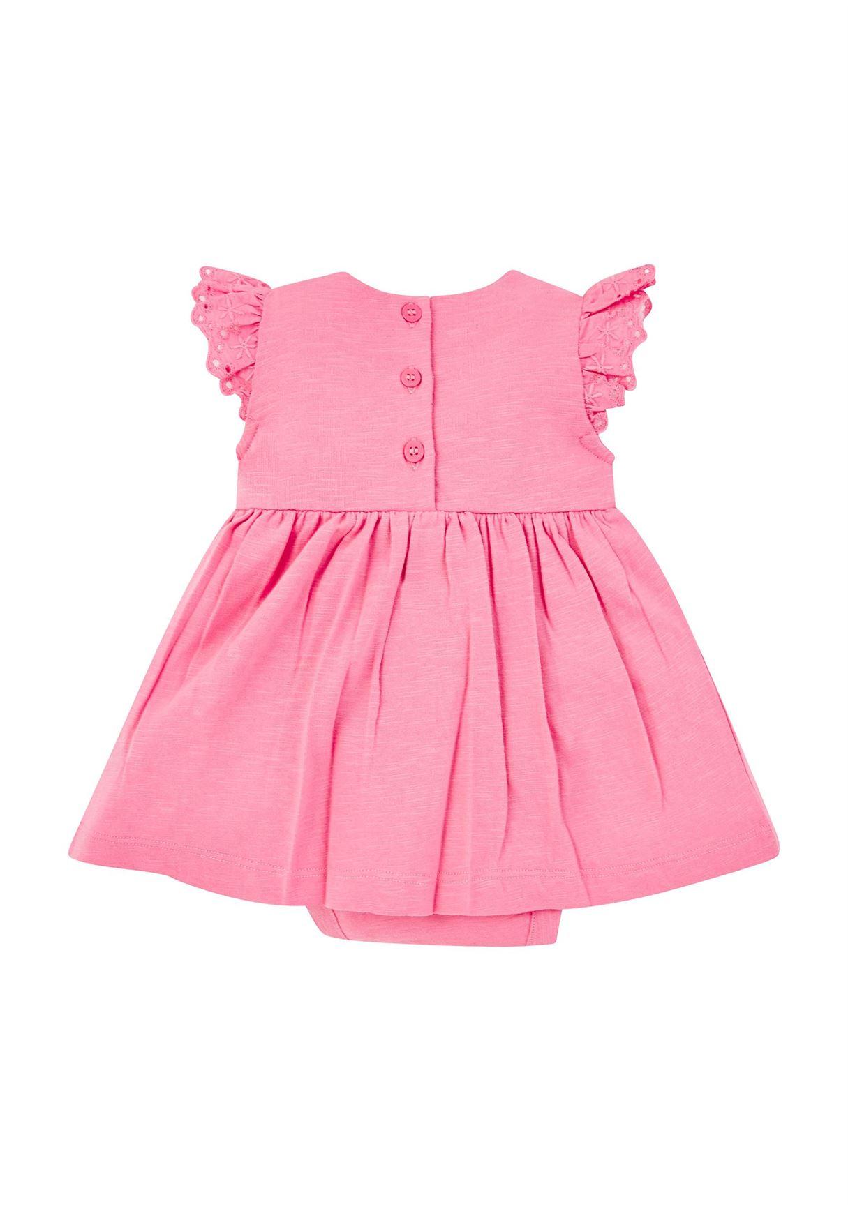 Mothercare Girls Pink Solid Dress & Panty Set