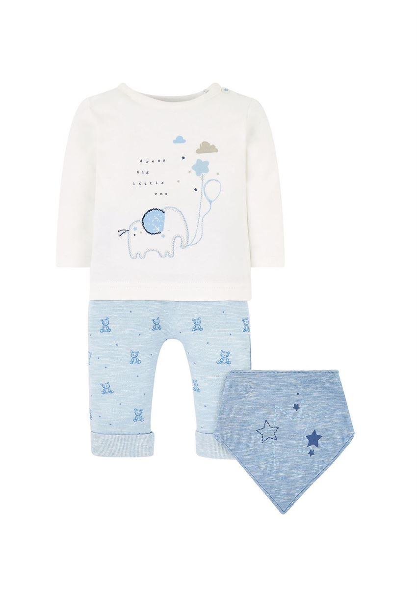 Mothercare Boys Blue Printed T-Shirt, Joggers & Bib Set