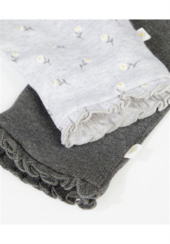 Mothercare Girls Grey Printed Pack of 2 Leggings