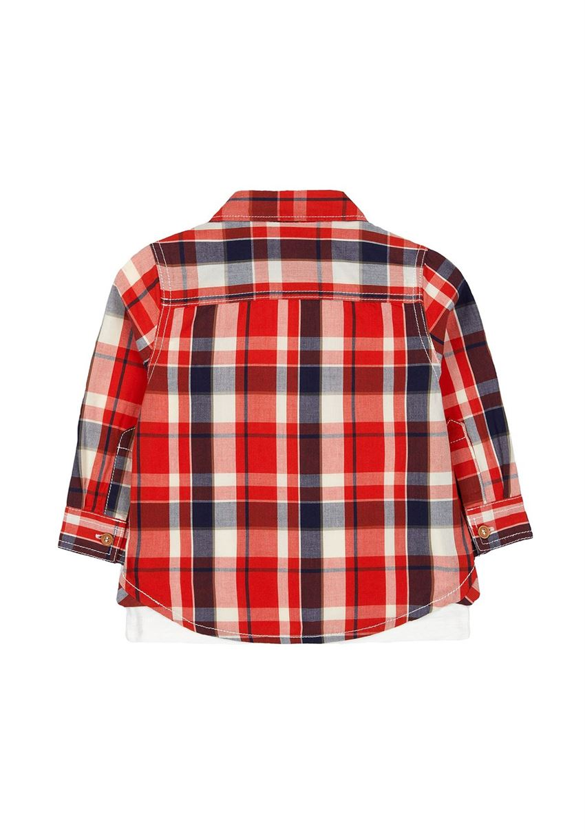 Mothercare Boys Red Checkered Shrt & T-Shirt Set
