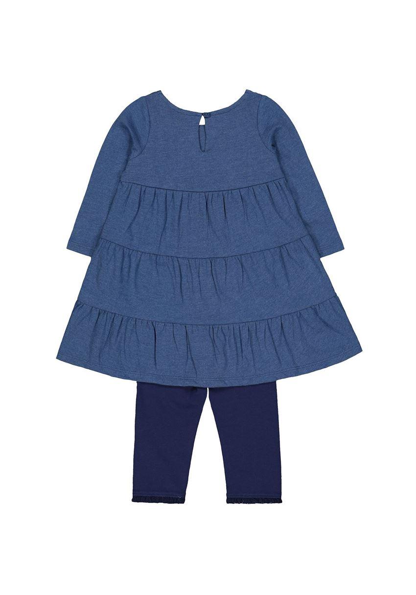 Mothercare Girls Blue Solid Dress & legging Set