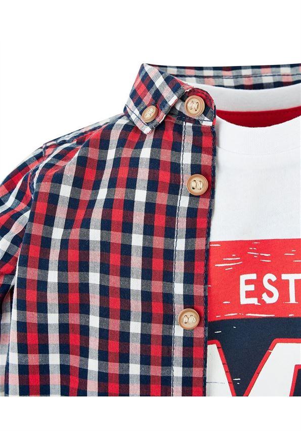 Mothercare Boys Red Checkered Shirt & T-Shirt Set