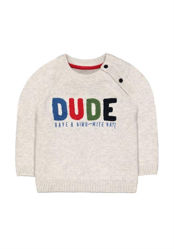 Mothercare Boys Grey Applique Pullover