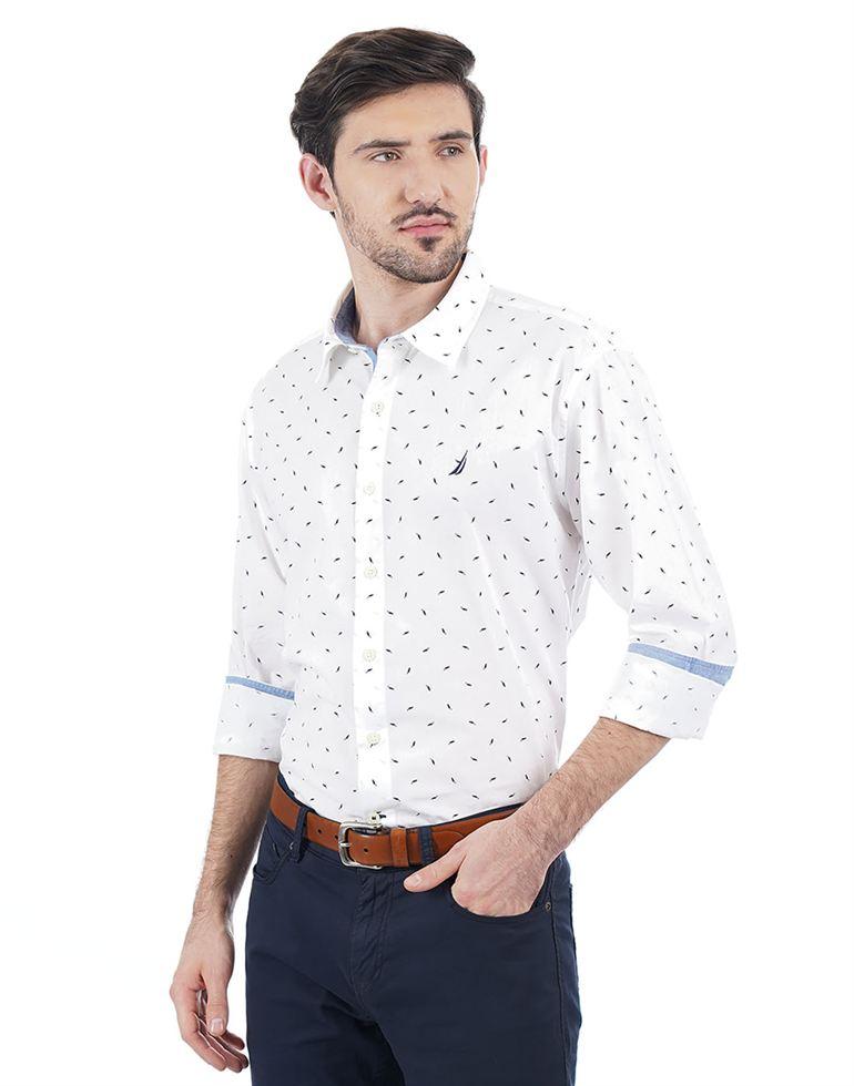 Nautica Men Casual Wear Printed Shirt