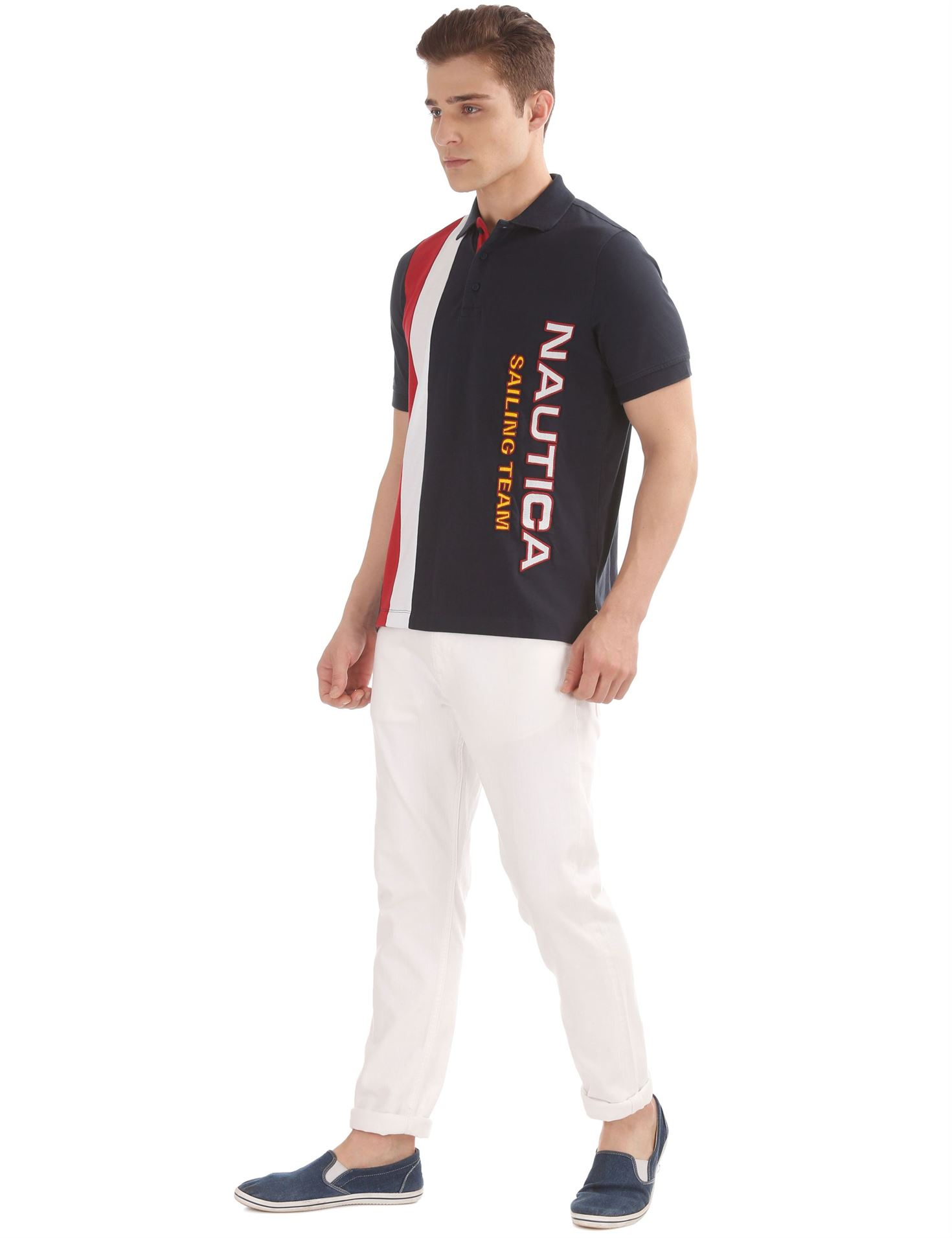 Nautica Men Casual Wear Embroidered Polo T-Shirt