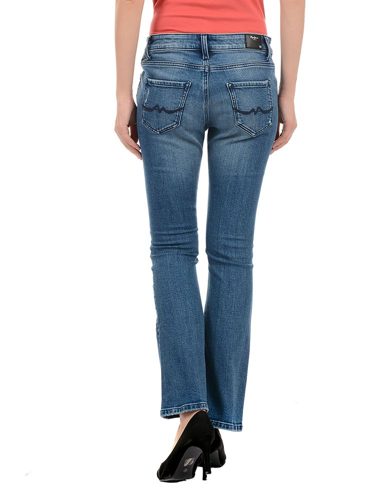 Pepe Jeans Women Casual Wear Blue Bootcut Jeans