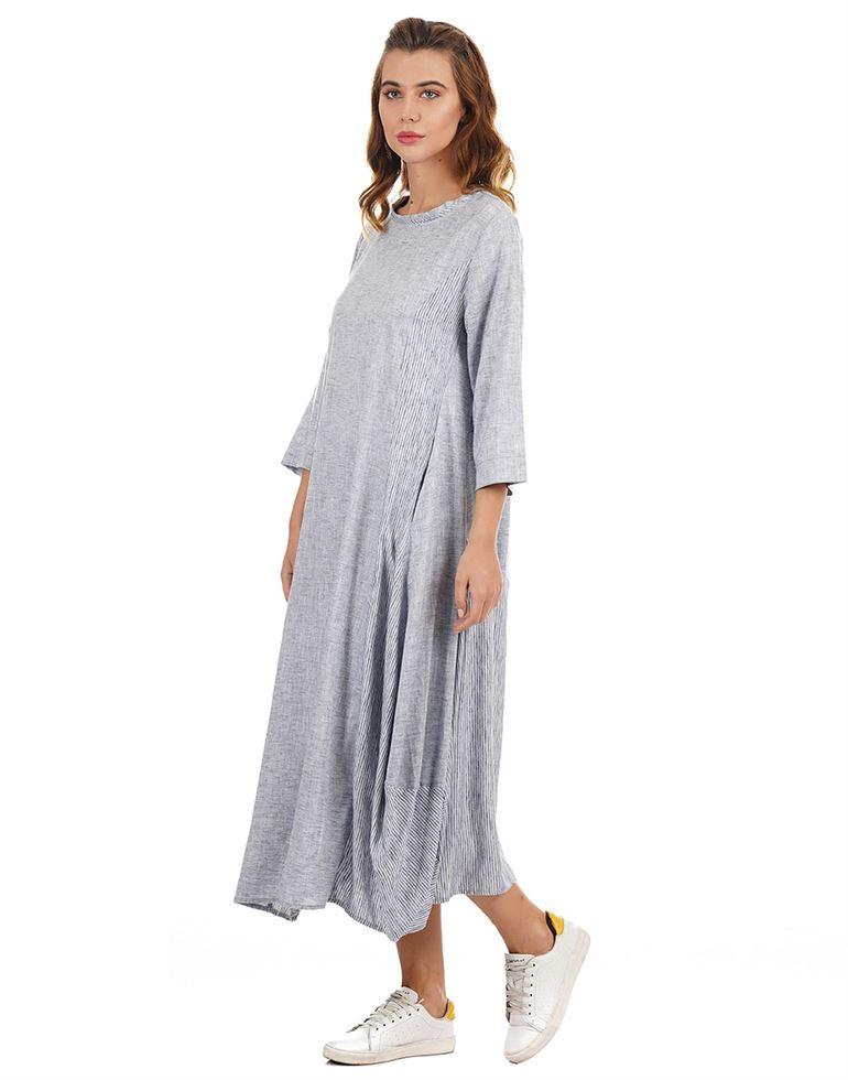 Rareism Women Casual Wear Texture Dress