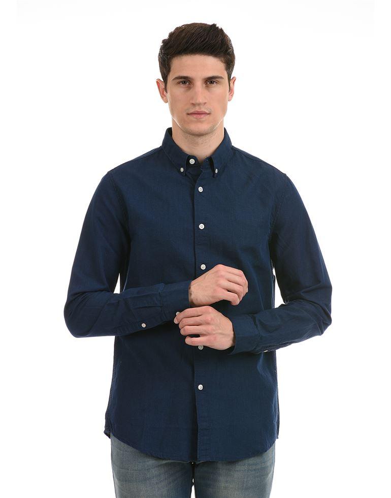 Super Dry Men Casual Wear Navy Blue Shirt