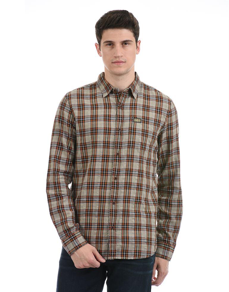 Super Dry Men Casual Wear Brown Shirt