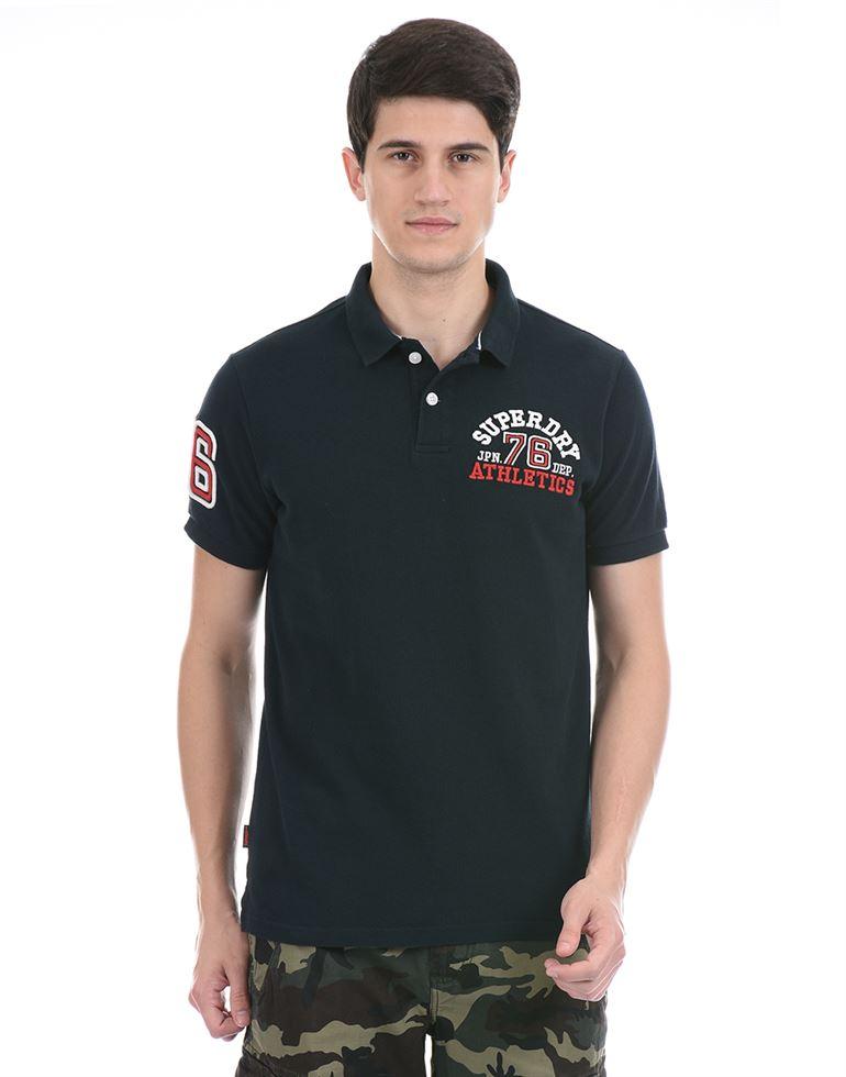 Super Dry Men Casual Wear Navy Blue Polo T-Shirt