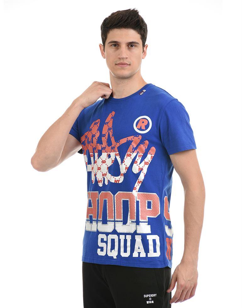 Super Dry Men Casual Wear Royal Blue T-Shirt