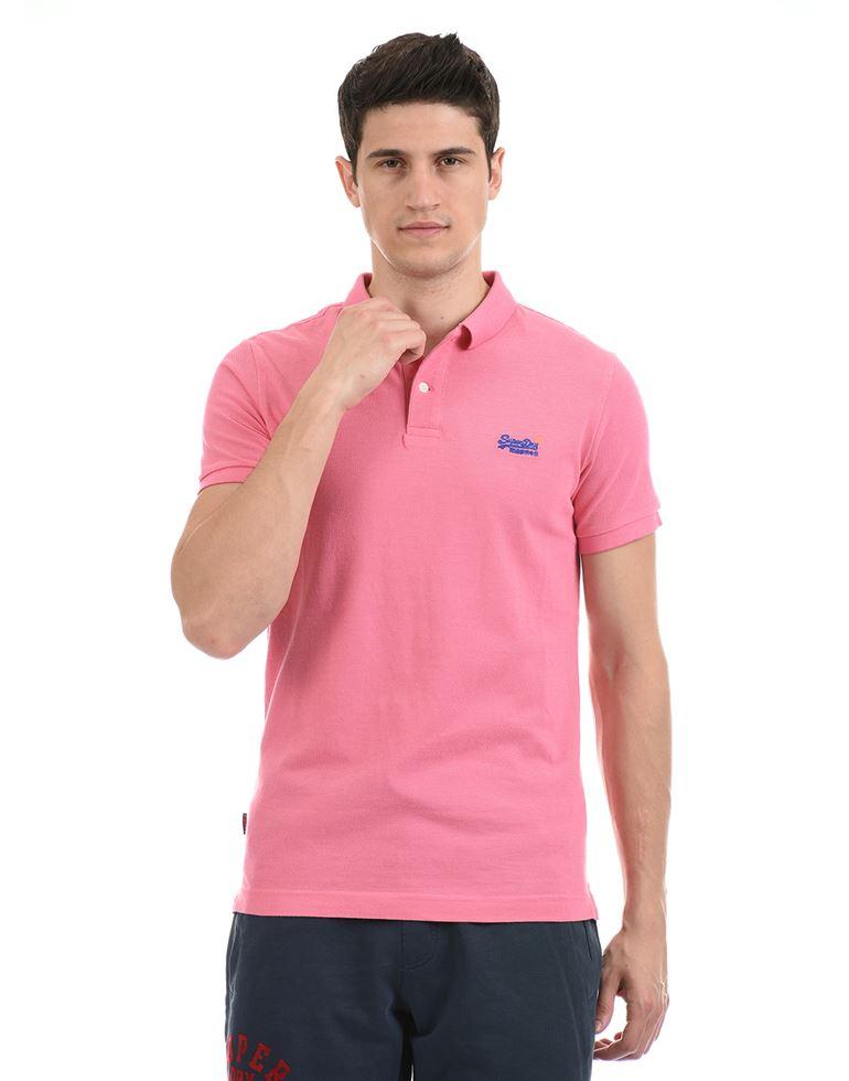 Super Dry Men Casual Wear Pink T-Shirt