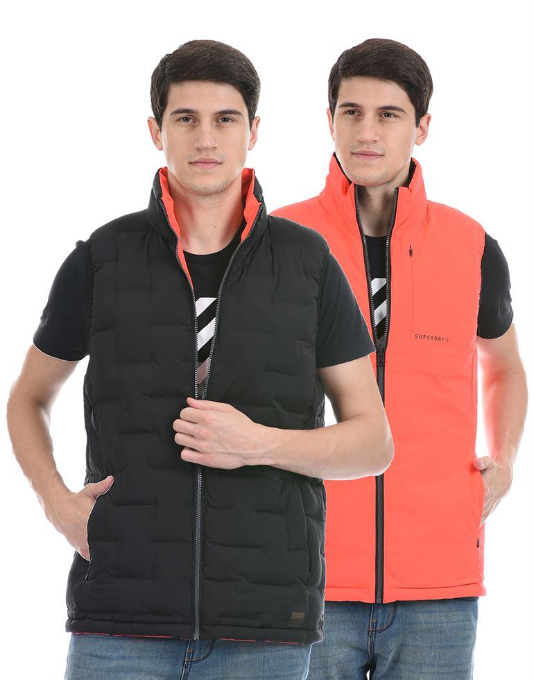 Super Dry Men Casual Wear Black Reversible Puffer Jacket