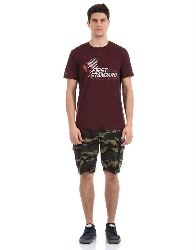 Super Dry Men Casual Wear Burgundy T-Shirt