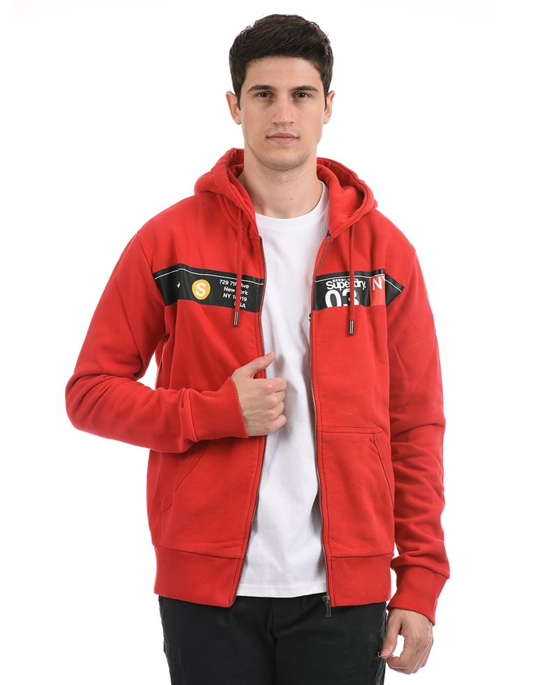 Super Dry Men Casual Wear Red Sweat Shirt