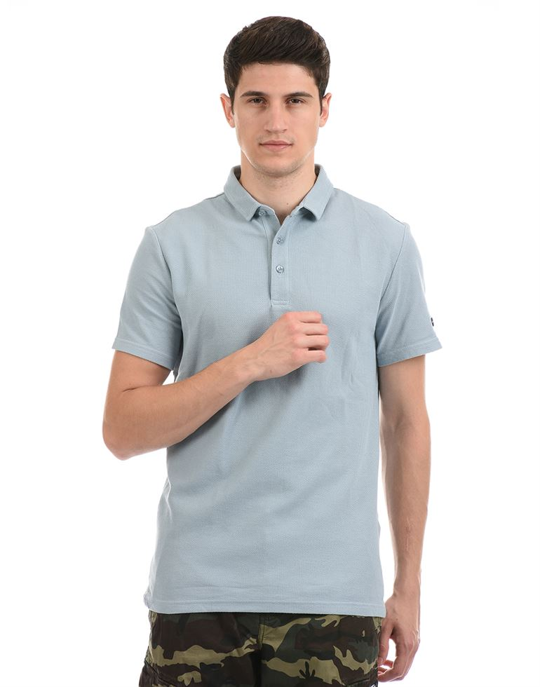 Super Dry Men Casual Wear Sky Blue T-Shirt