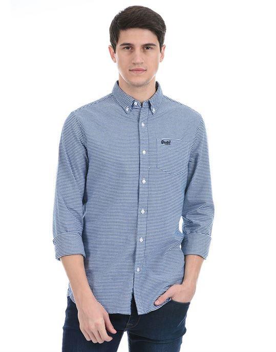 Super Dry Men Casual Wear Blue Shirt