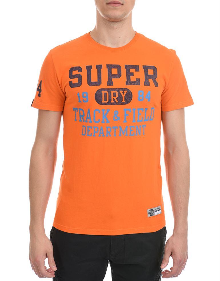 Super Dry Men Casual Wear Orange T-Shirt