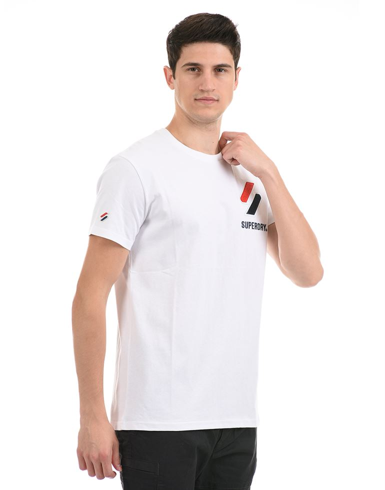 Super Dry Men Casual Wear White T-Shirt