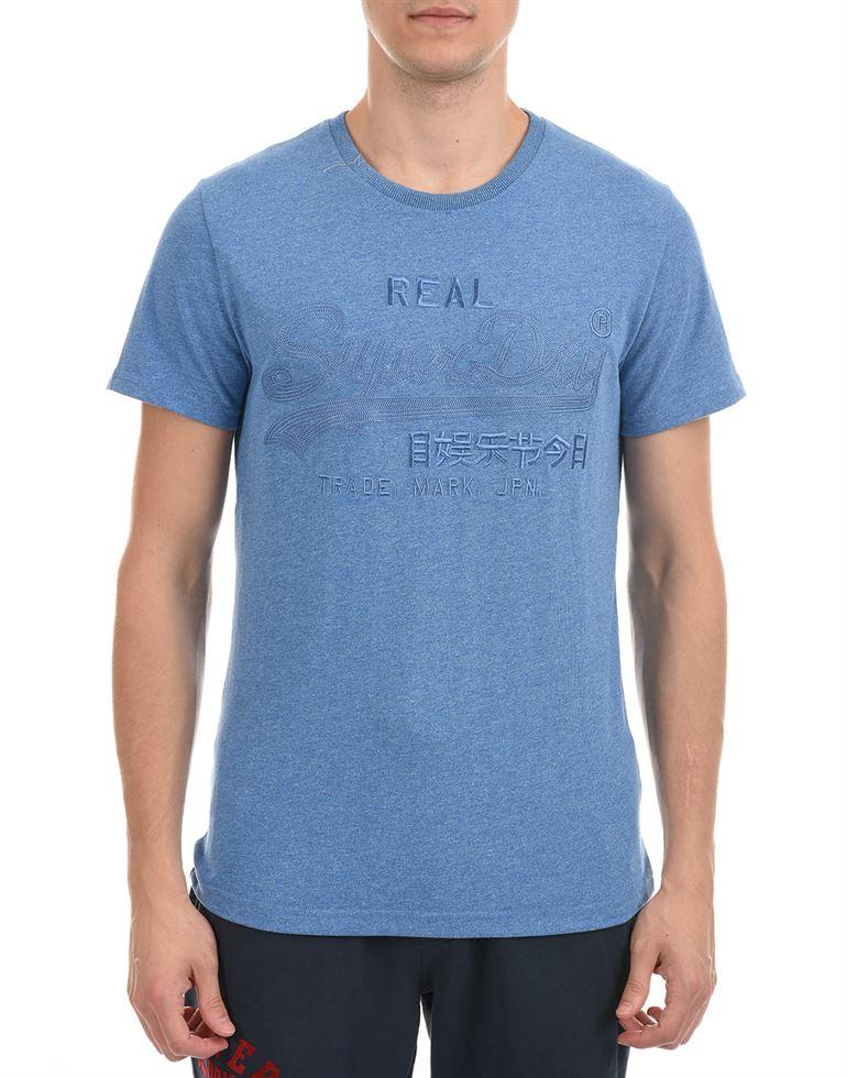 Super Dry Men Casual Wear Blue T-Shirt