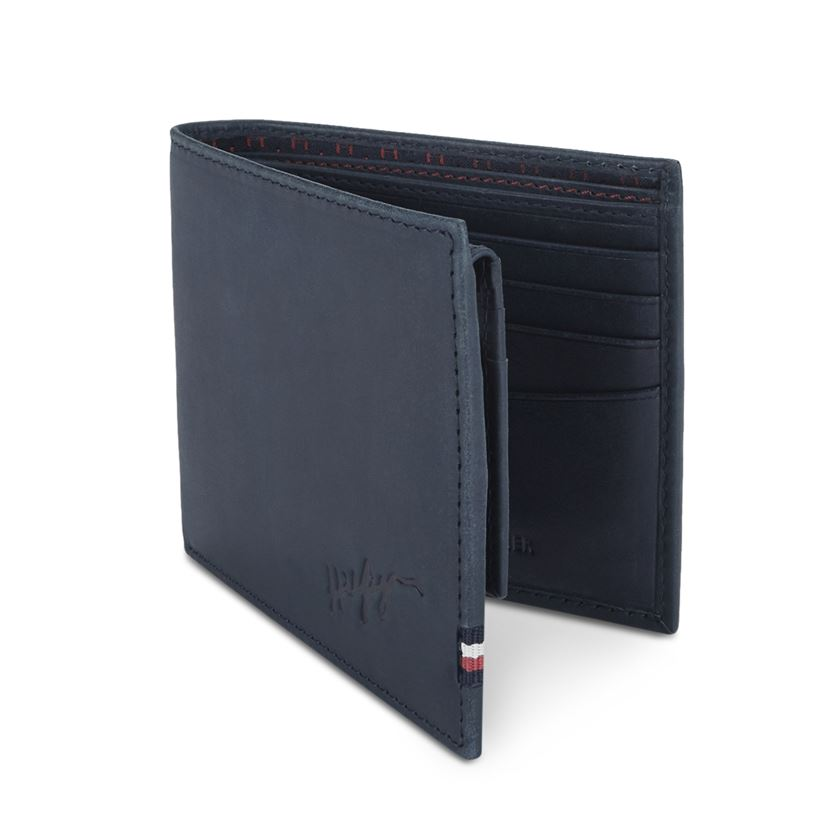 Tommy Hilfiger Leather Men Navy Blue Fold Wallet