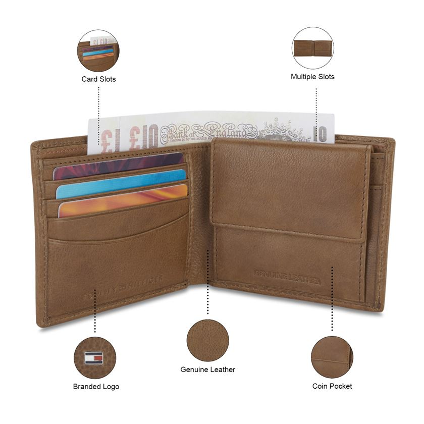 Tommy Hilfiger Leather Men Tan Fold Wallet