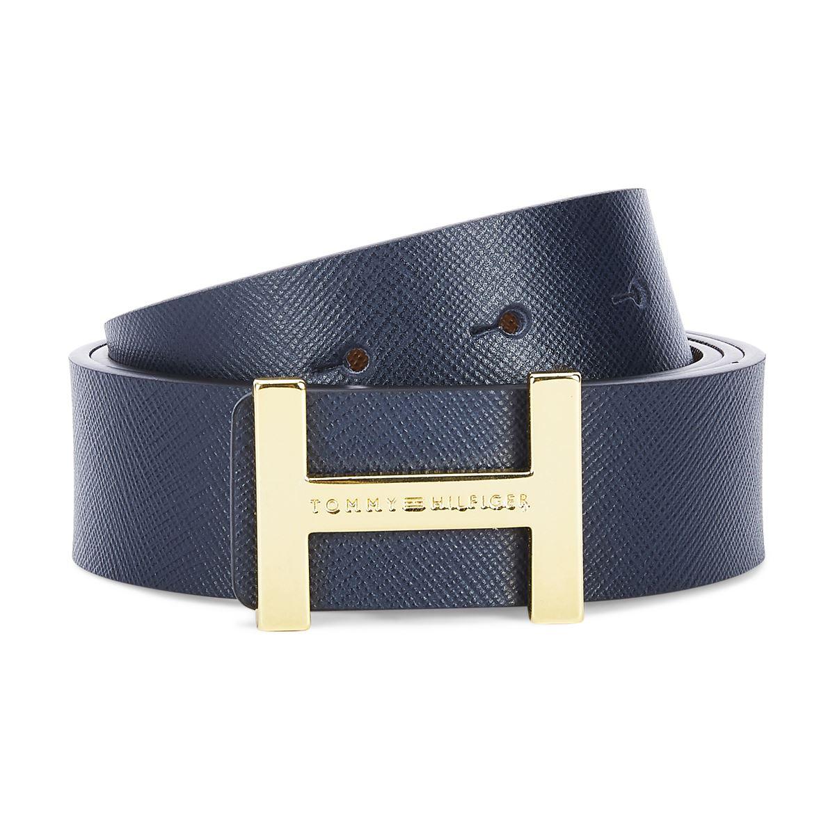Tommy Hilfiger Leather Mens Textured Navy + Tan Decent Reversible Belt