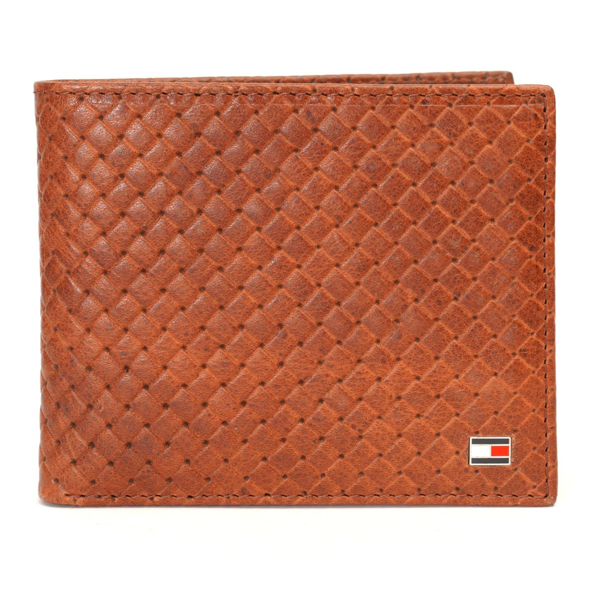 Tommy Hilfiger Leather Mens Textured Brown Jackery Passcase Wallet