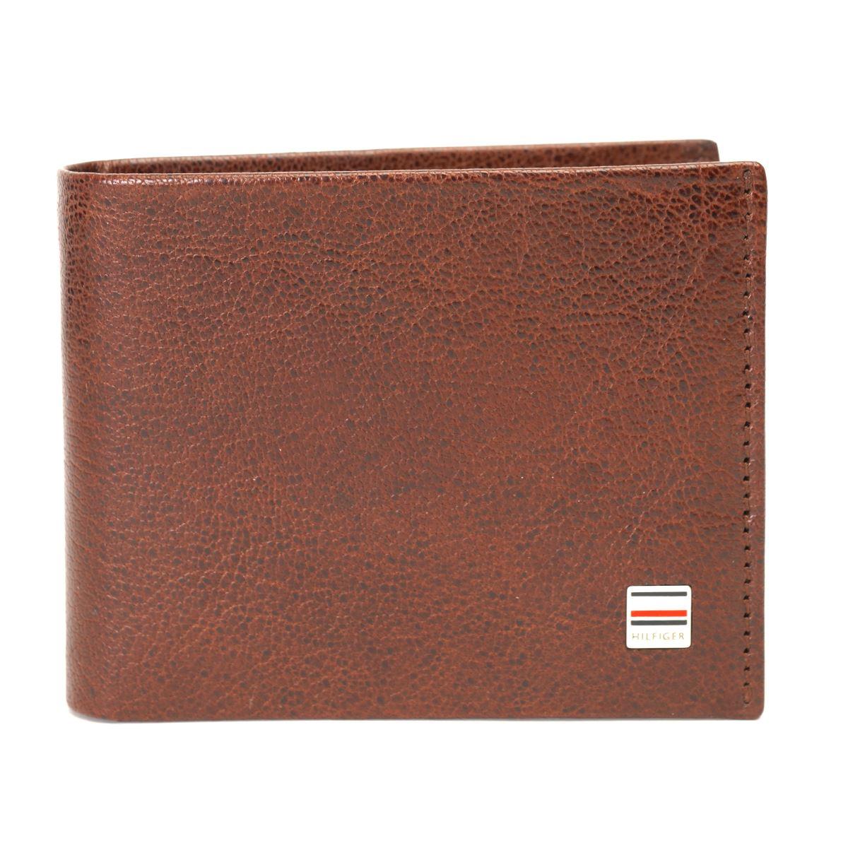 Tommy Hilfiger Leather Mens Textured Dark Brown James Global Coin Wallet