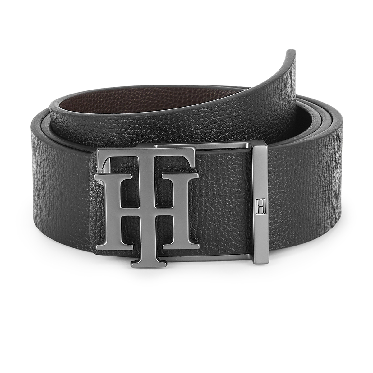 Tommy Hilfiger Leather Mens Textured Black/Brown Branson Reversible Belt