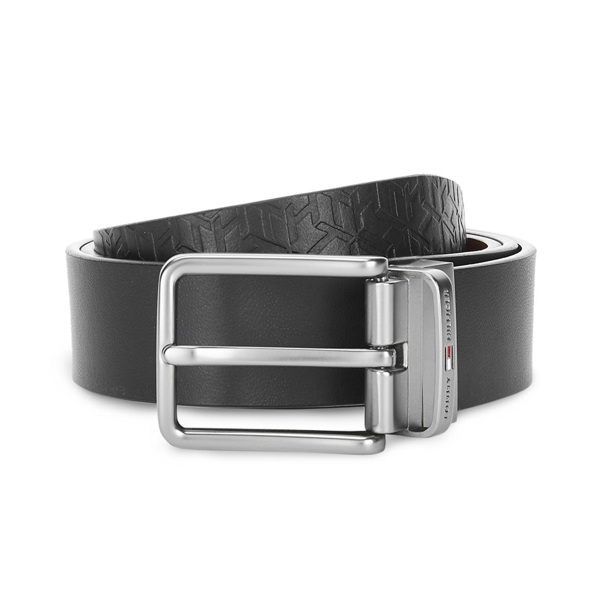 Tommy Hilfiger Leather Mens Solid Black/Tan Brentwood Reversible Belt