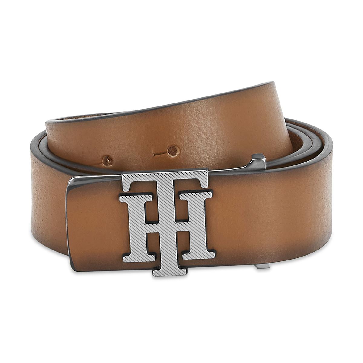 Tommy Hilfiger Leather Mens Solid Tan Gem Non Reversible Belt