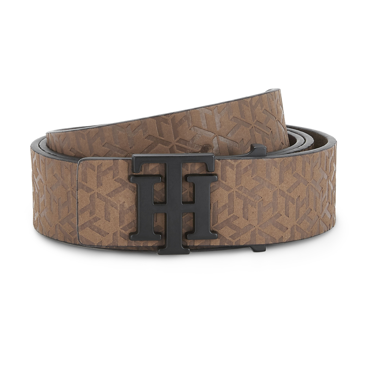 Tommy Hilfiger Leather Mens Solid Brown Universal Non Reversible Belt