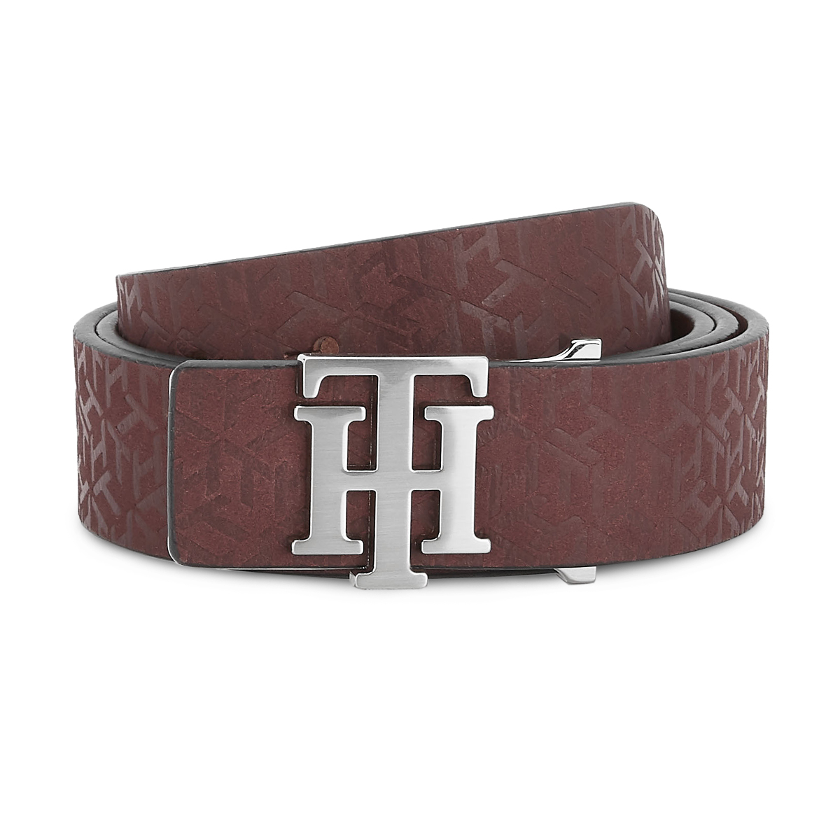 Tommy Hilfiger Leather Mens Solid Wine Universal Non Reversible Belt