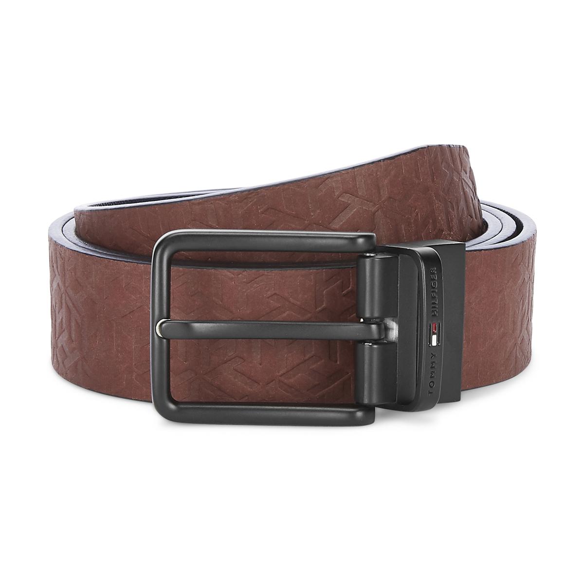 Tommy Hilfiger Leather Mens Solid Wine/Navy Desert Reversible Belt
