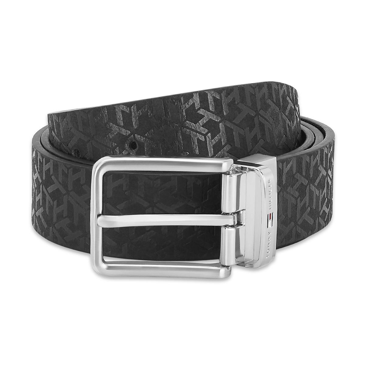 Tommy Hilfiger Leather Mens Solid Black/Black Desert Reversible Belt