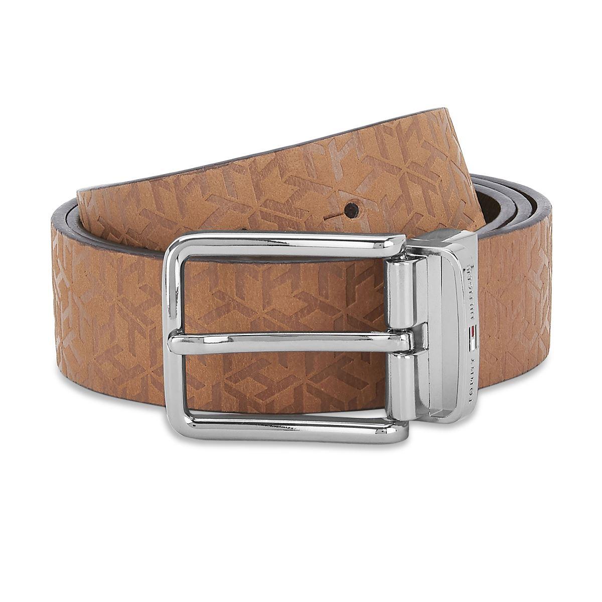 Tommy Hilfiger Leather Mens Solid Tan/Brown Desert Reversible Belt
