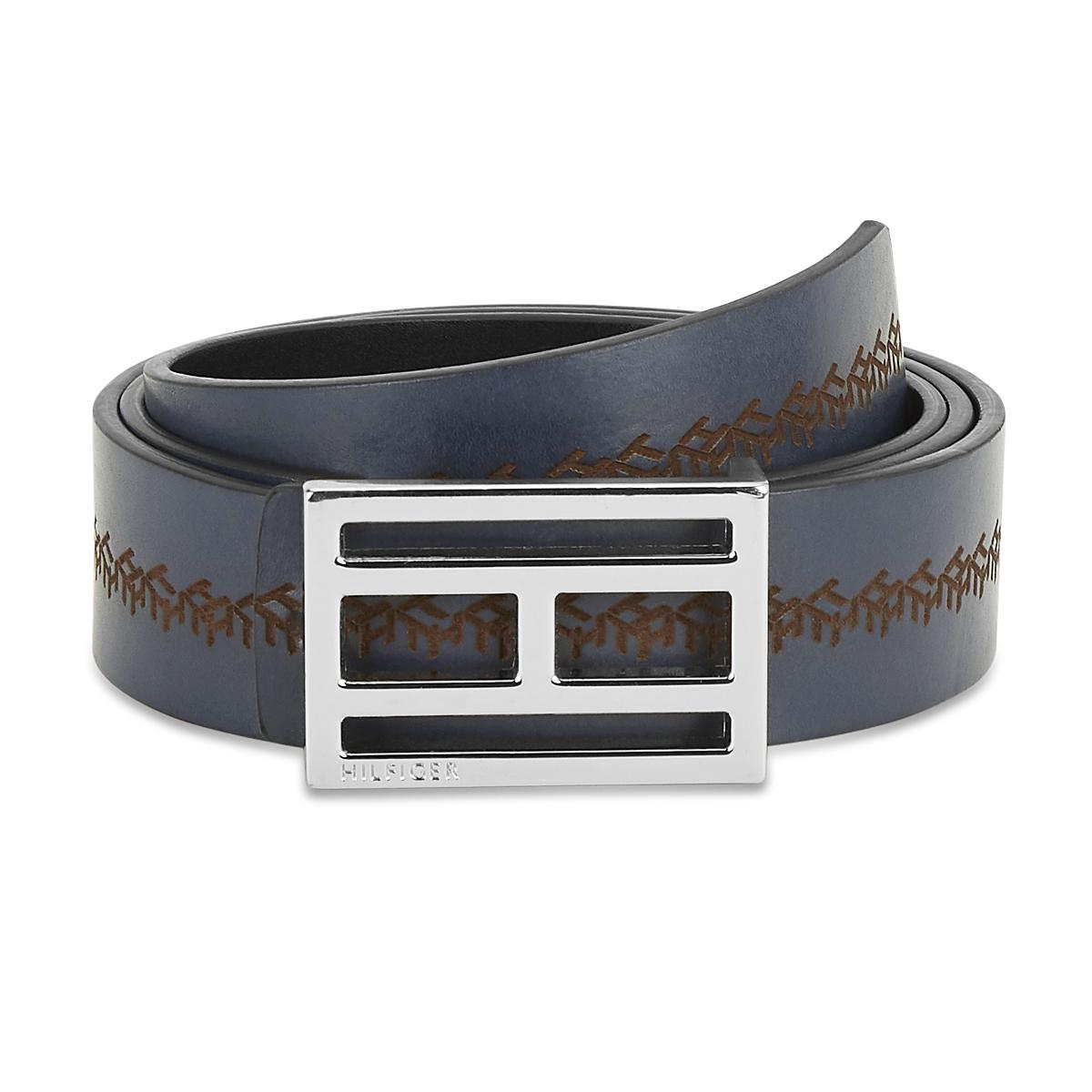 Tommy Hilfiger Leather Mens Textured Navy/Black Flame Reversible Belt