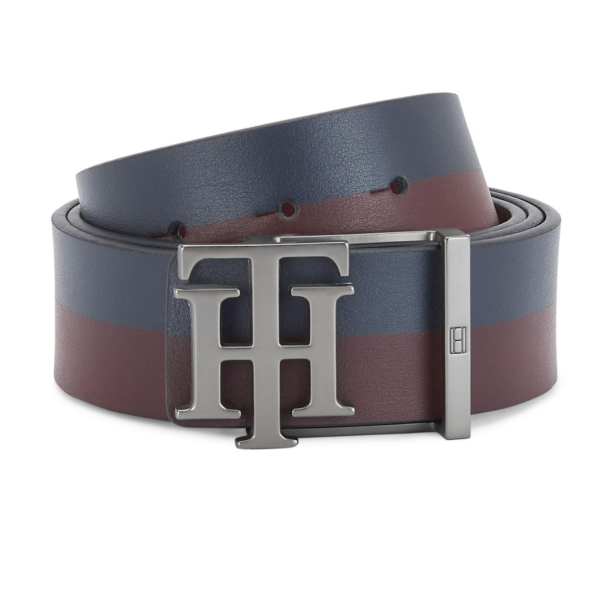 Tommy Hilfiger Leather Mens Color Block Navy/Wine Lavender Reversible Belt