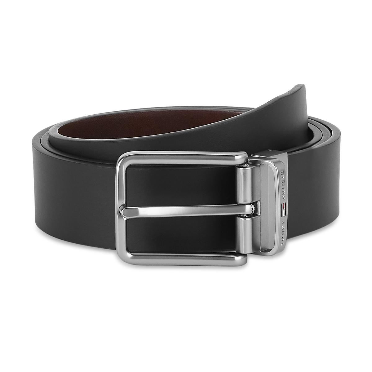 Tommy Hilfiger Leather Mens Solid Black/Wine Corban Reversible Belt