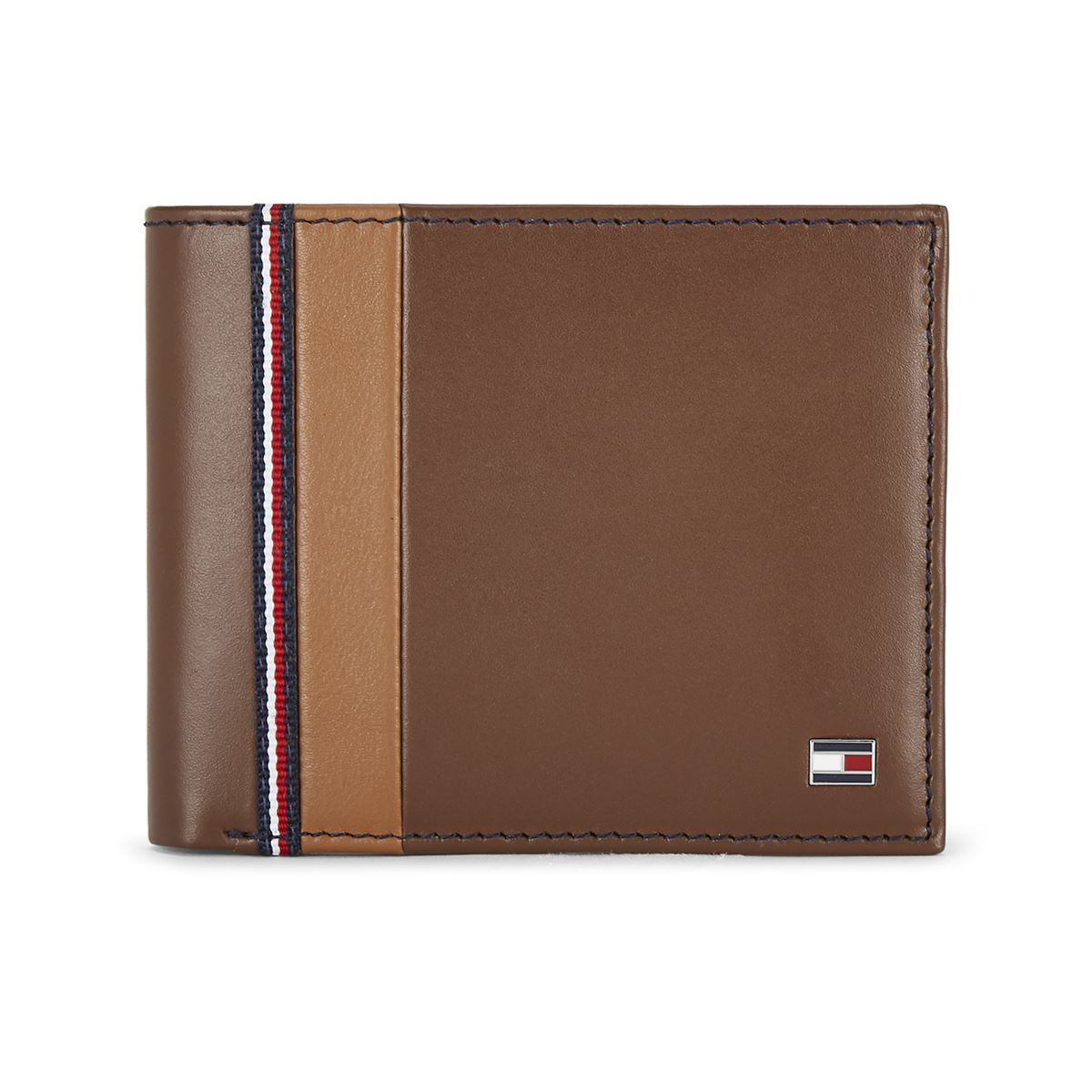 Tommy Hilfiger Leather Mens Color Block Tan North Global Coin Wallet