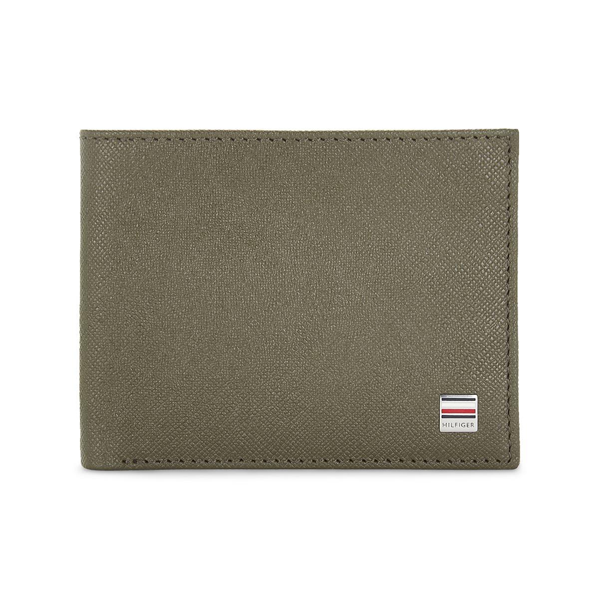 Tommy Hilfiger Leather Mens Textured Olive Orchid Slimfold Wallet